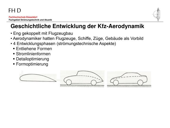 Geschichtliche Entwicklung der Kfz-Aerodynamik