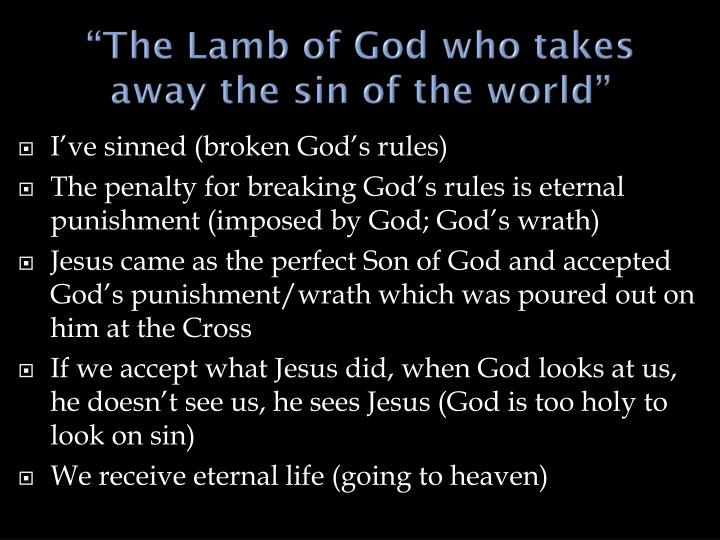 The lamb of god who takes away the sin of the world