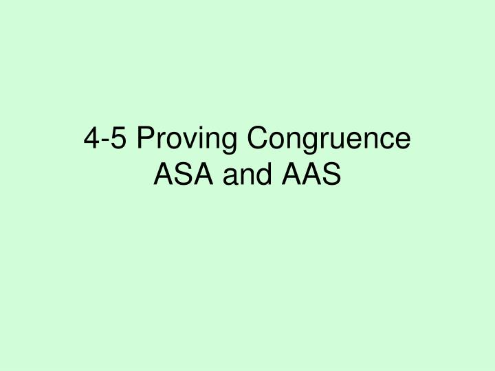 4-5 Proving Congruence