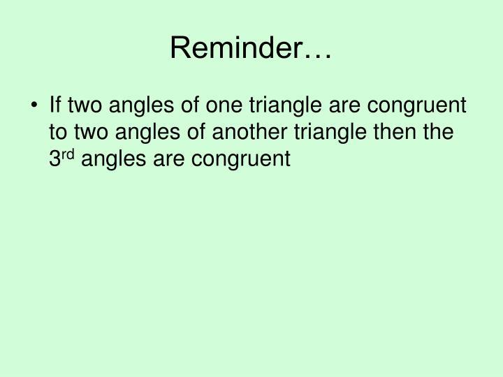 Reminder…