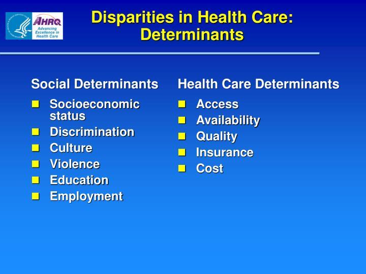 Disparities in Health Care: Determinants