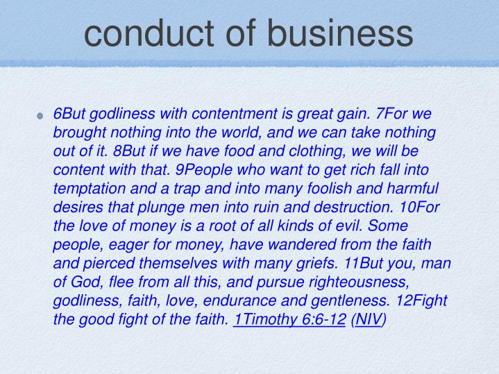 conduct of business