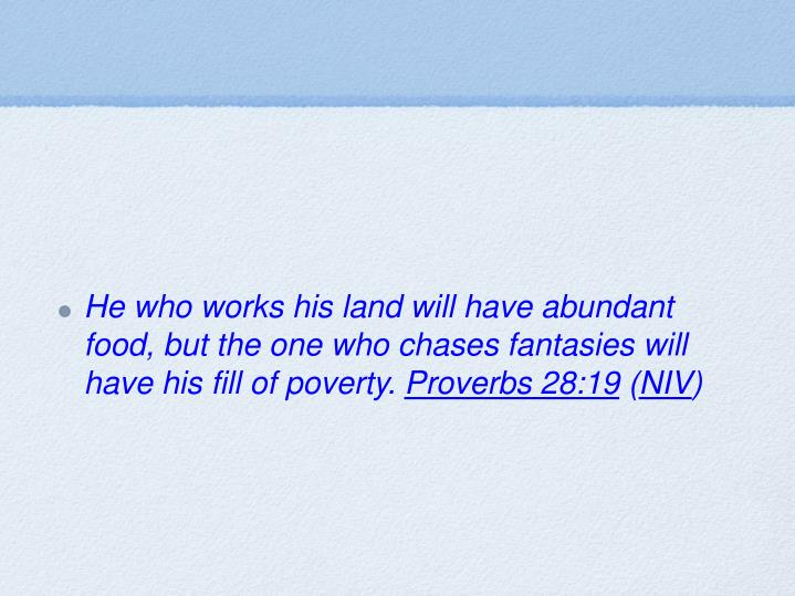 He who works his land will have abundant food, but the one who chases fantasies will have his fill of poverty.