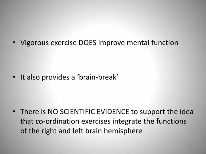 Vigorous exercise DOES improve mental function