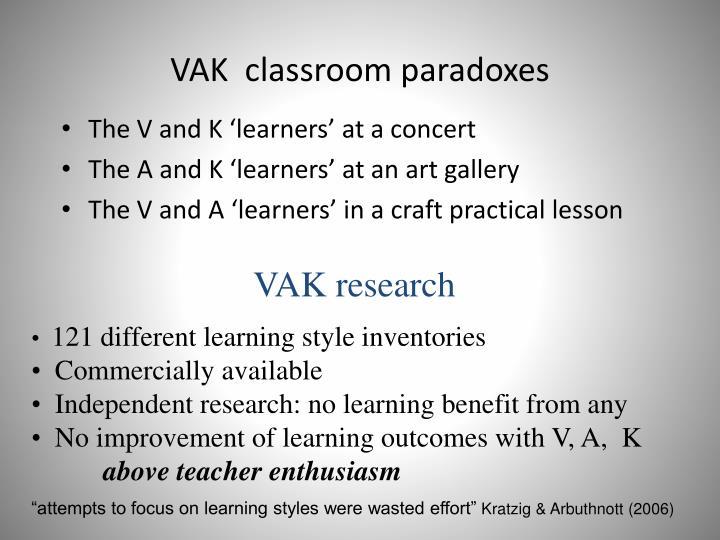 VAK  classroom paradoxes