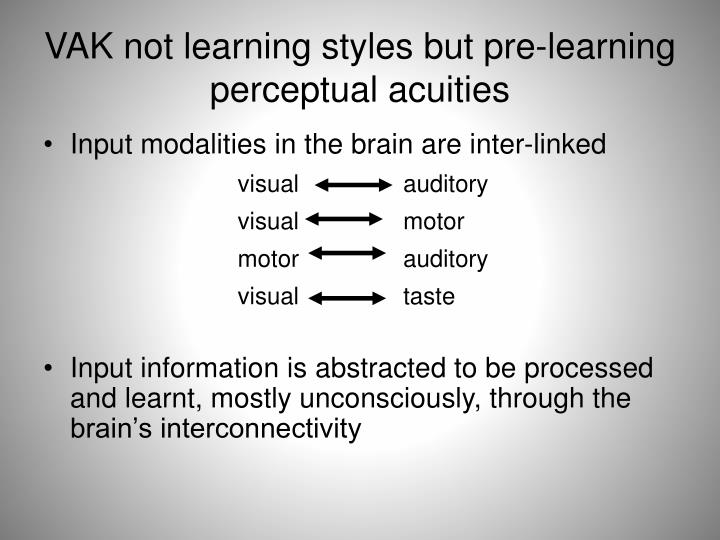 VAK not learning styles but pre-learning perceptual acuities