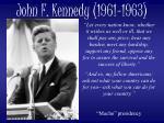 john f kennedy 1961 1963
