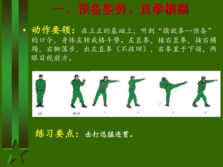 一、预备姿势、直拳横踢