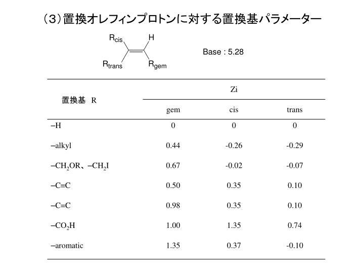(3)置換オレフィンプロトンに対する置換基パラメーター