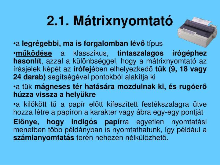 2.1. Mátrixnyomtató