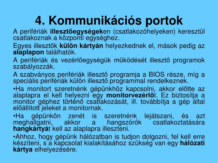 4. Kommunikációs portok