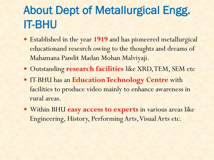 About Dept of Metallurgical Engg. IT-BHU