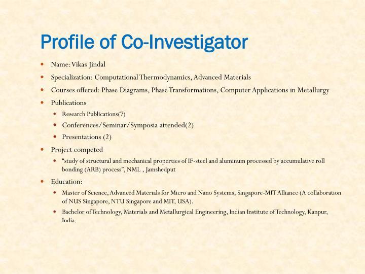 Profile of Co-Investigator