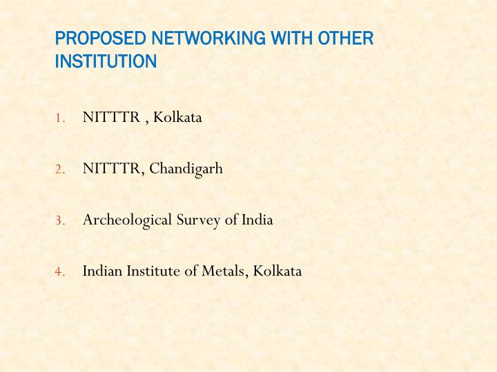 PROPOSED NETWORKING WITH OTHER INSTITUTION