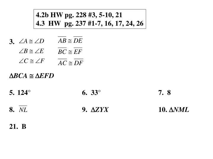 4.2b HW pg. 228 #3, 5-10, 21