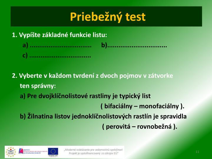 Priebežný test