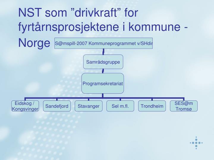 """NST som """"drivkraft"""" for fyrtårnsprosjektene i kommune - Norge"""