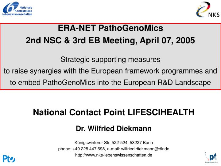 ERA-NET PathoGenoMics