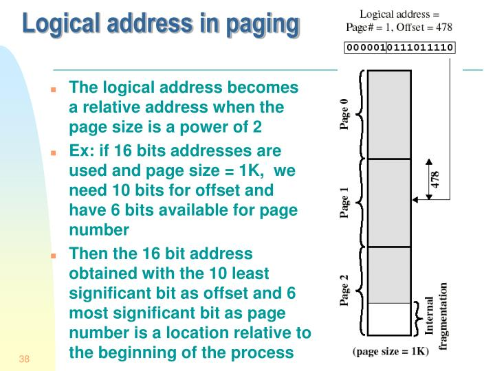 Logical address in paging