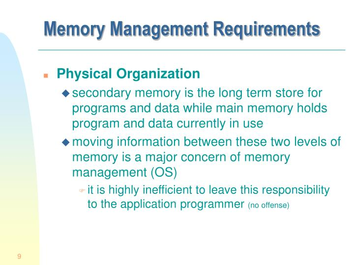 Memory Management Requirements