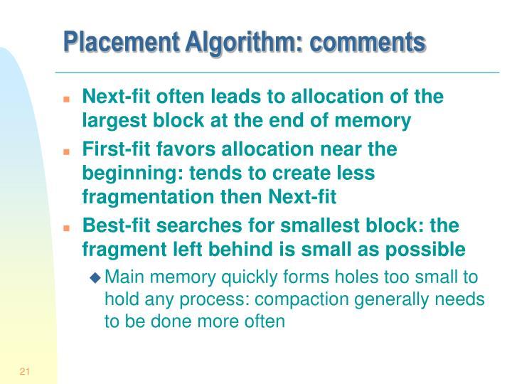 Placement Algorithm: comments