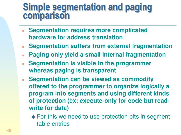 Simple segmentation and paging comparison