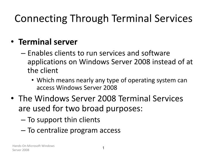 Connecting through terminal services
