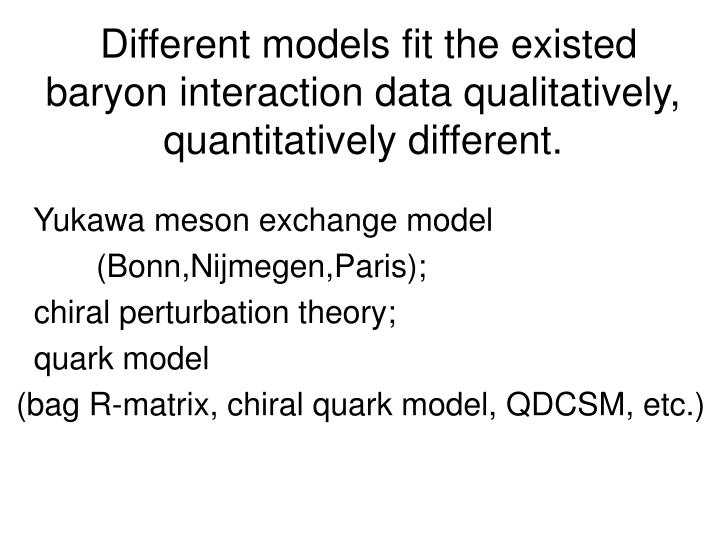Different models fit the existed baryon interaction data qualitatively,