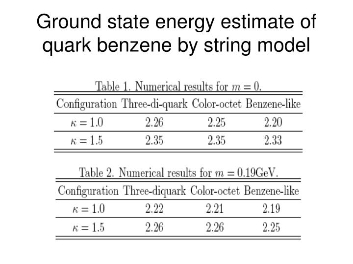 Ground state energy estimate of quark benzene by string model