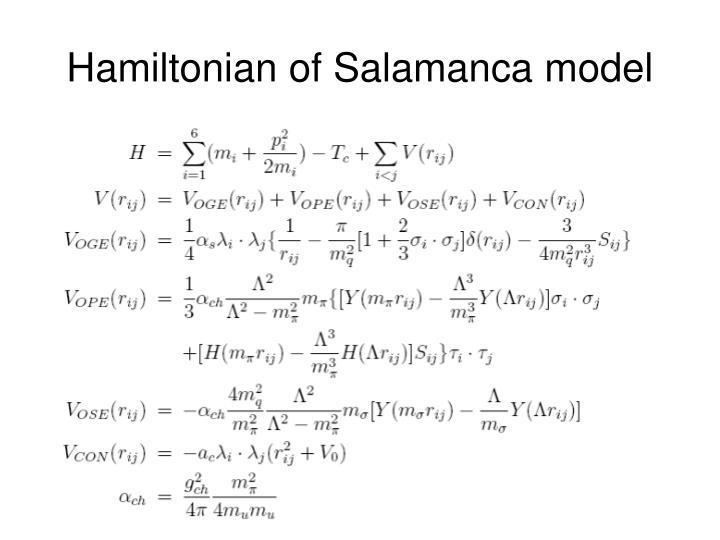 Hamiltonian of Salamanca model