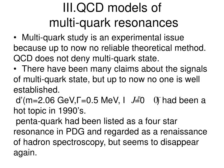 III.QCD models of