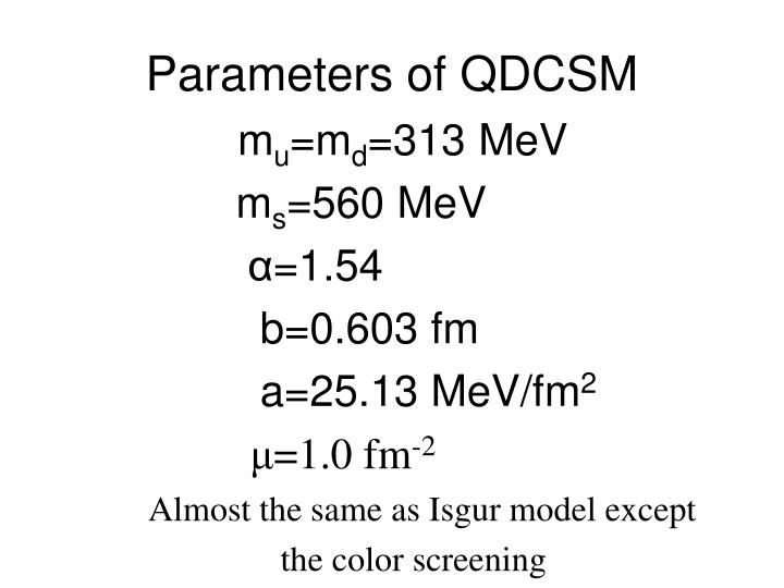 Parameters of QDCSM