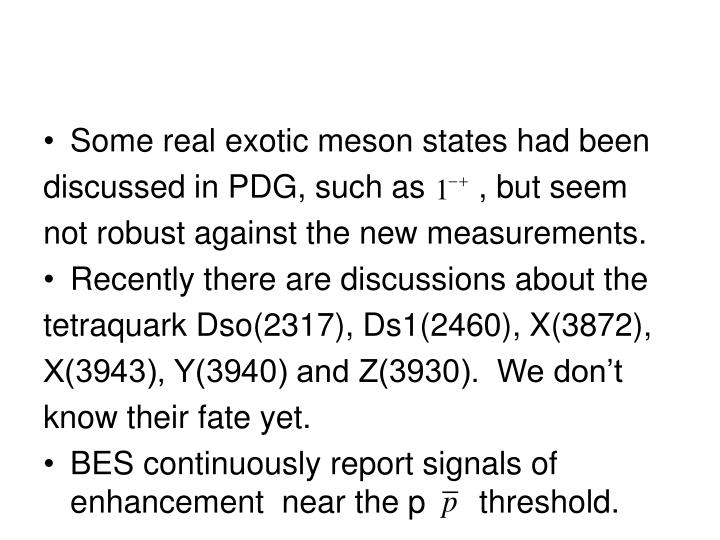 Some real exotic meson states had been