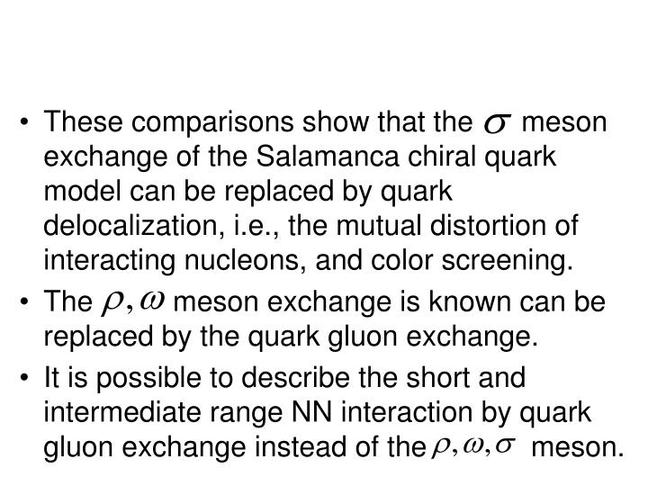 These comparisons show that the      meson exchange of the Salamanca chiral quark model can be replaced by quark delocalization, i.e., the mutual distortion of interacting nucleons, and color screening.