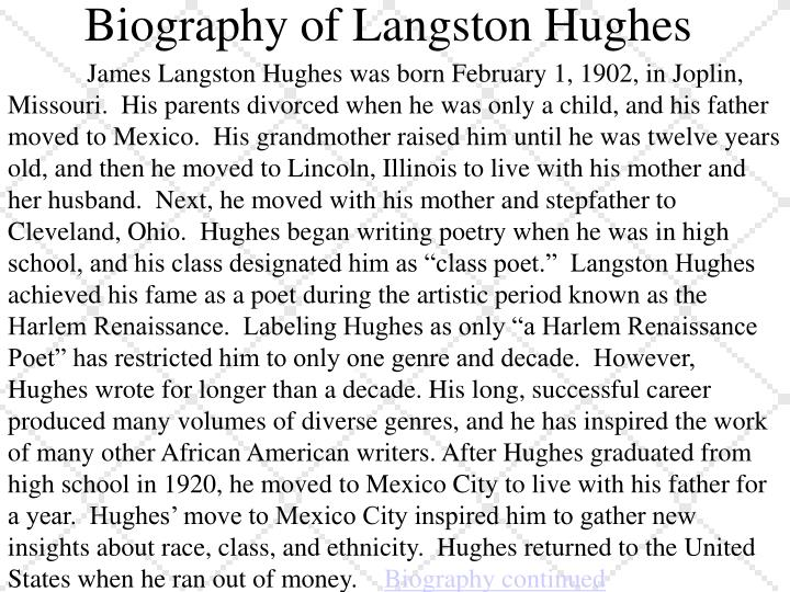 Biography of Langston Hughes
