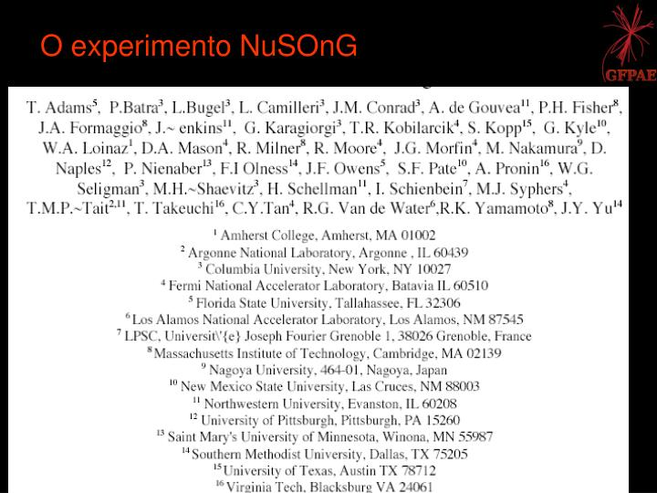 O experimento NuSOnG