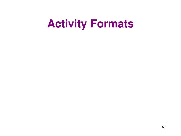 Activity Formats