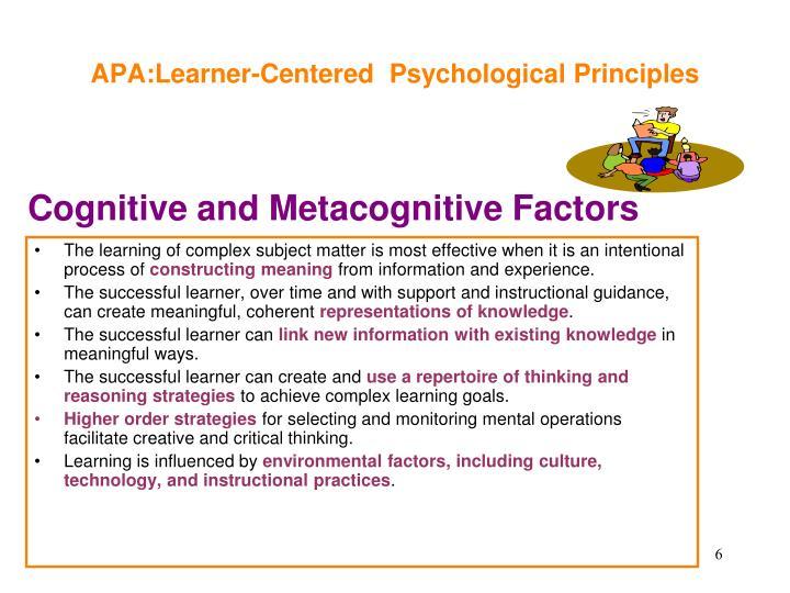 APA:Learner-Centered  Psychological Principles