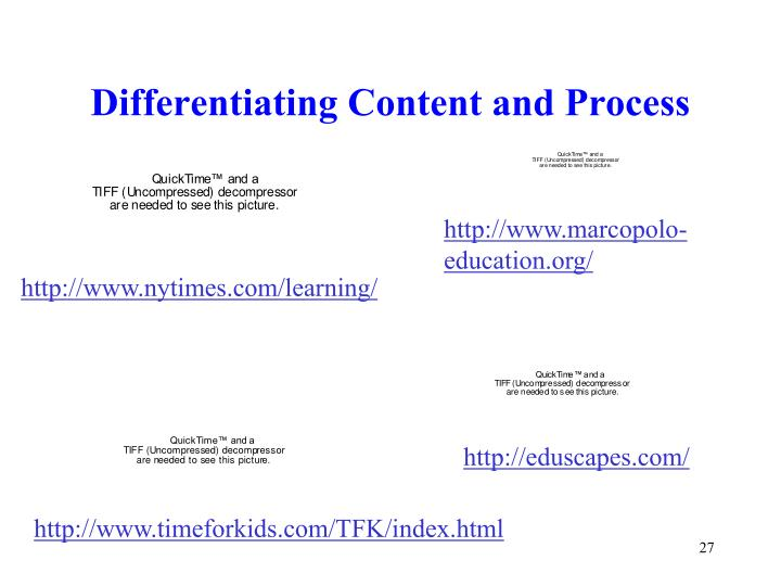 Differentiating Content and Process