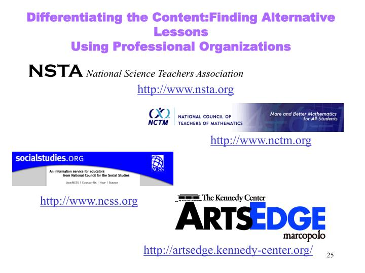 Differentiating the Content:Finding Alternative Lessons