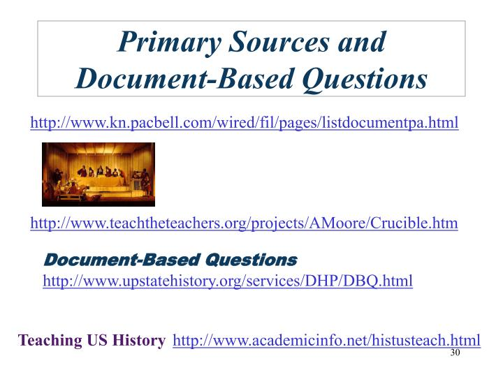 Primary Sources and Document-Based Questions