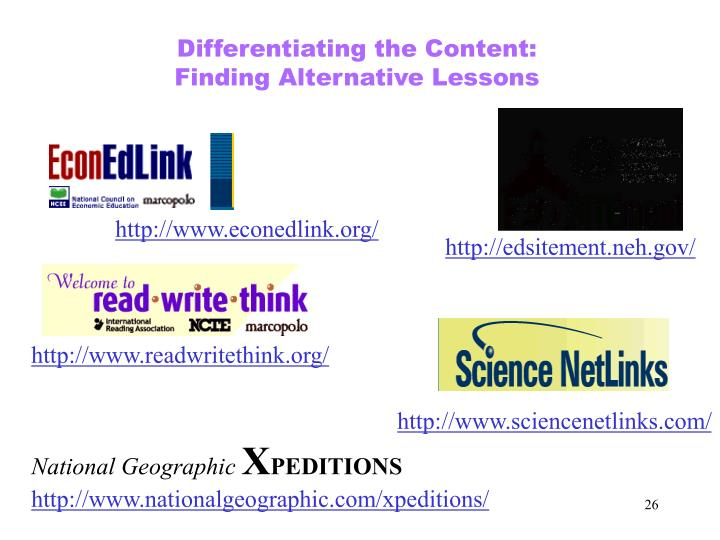 Differentiating the Content: