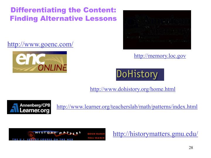Differentiating the Content: Finding Alternative Lessons