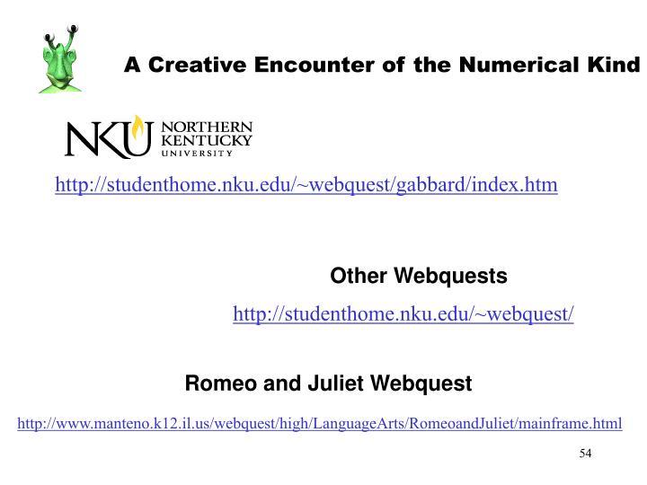 A Creative Encounter of the Numerical Kind