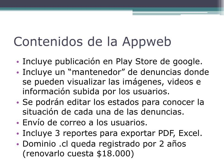 Contenidos de la Appweb
