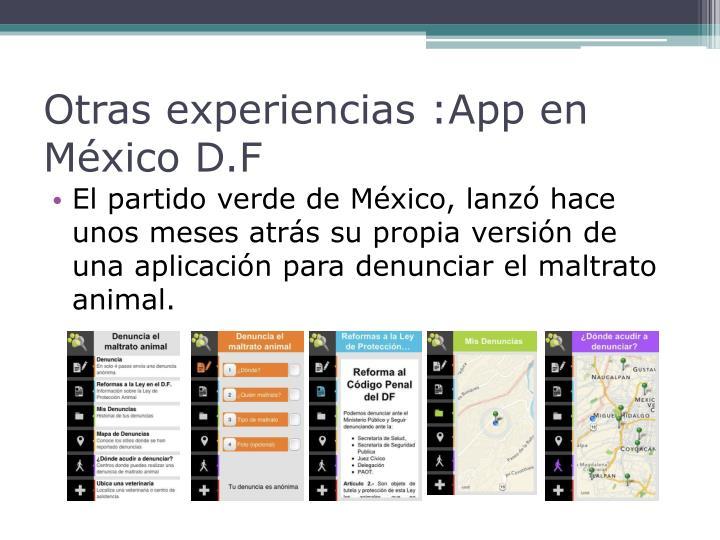 Otras experiencias :App en México D.F