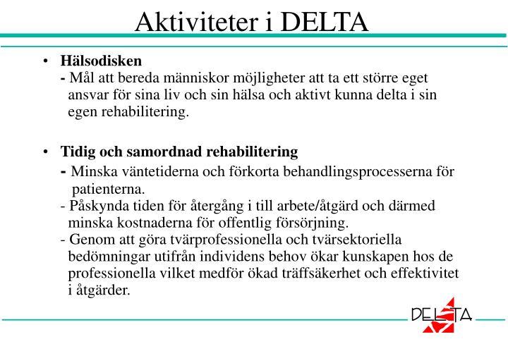 Aktiviteter i DELTA