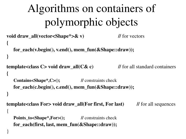 Algorithms on containers of polymorphic objects