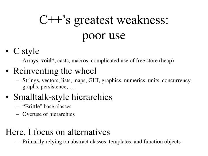 C++'s greatest weakness: