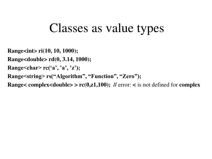 Classes as value types